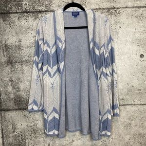Pendleton // Open Front Patterned Cardigan